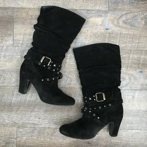 Shoes - Black Suede Scrunch Boots With Studded Belt Detail